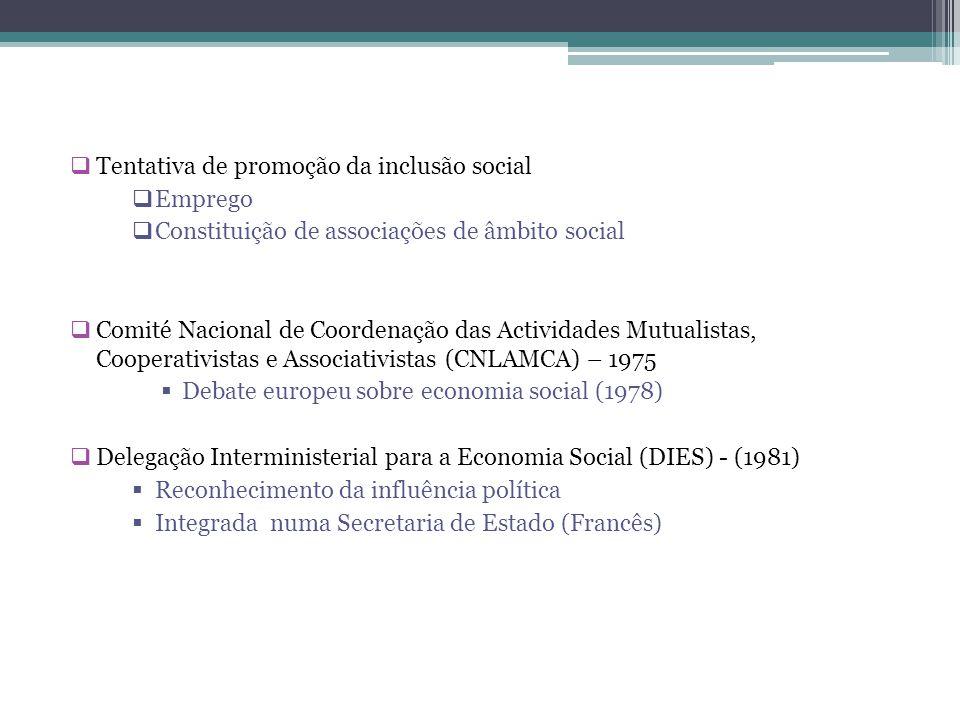  Tentativa de promoção da inclusão social  Emprego  Constituição de associações de âmbito social  Comité Nacional de Coordenação das Actividades M