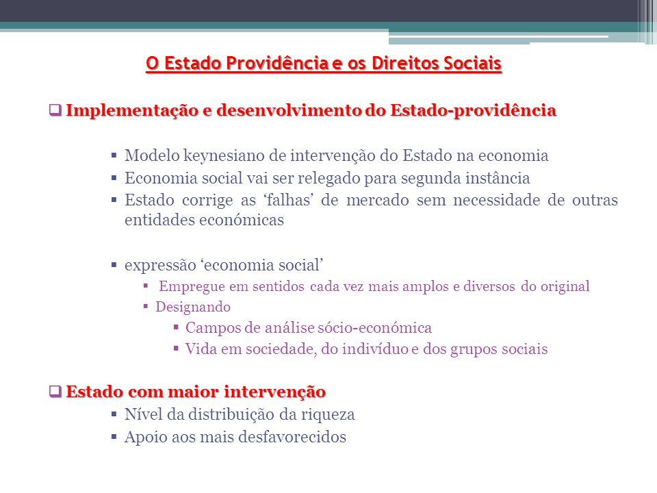 O Estado Providência e os Direitos Sociais  Implementação e desenvolvimento do Estado-providência  Modelo keynesiano de intervenção do Estado na eco