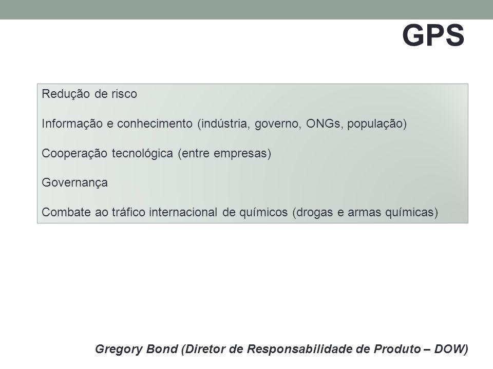 GPS Gregory Bond (Diretor de Responsabilidade de Produto – DOW) Redução de risco Informação e conhecimento (indústria, governo, ONGs, população) Cooperação tecnológica (entre empresas) Governança Combate ao tráfico internacional de químicos (drogas e armas químicas)