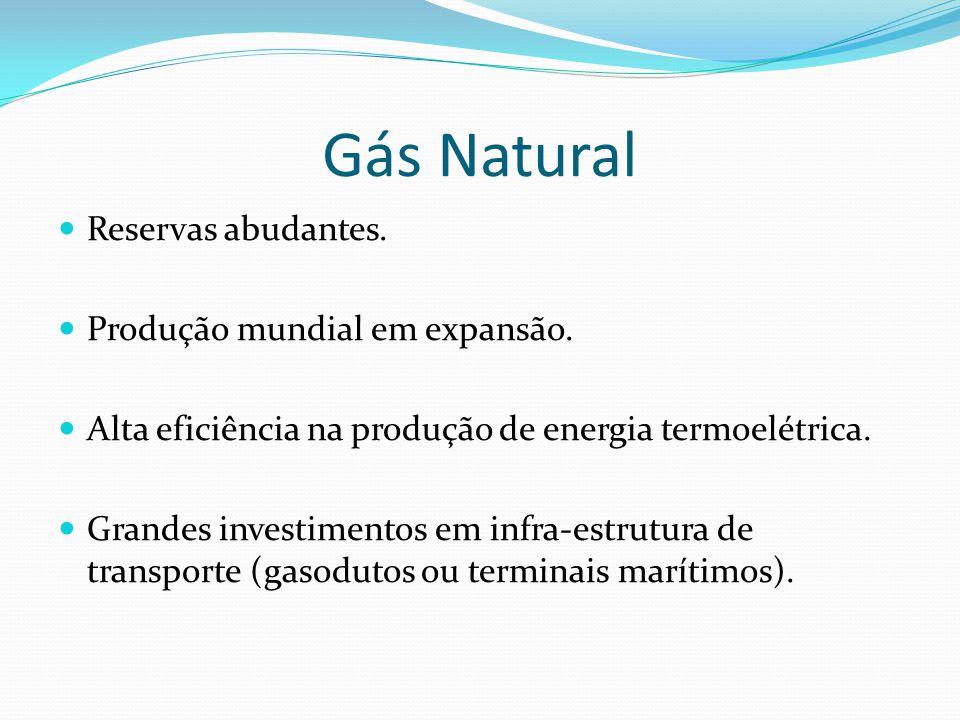 Gás Natural Reservas abudantes. Produção mundial em expansão. Alta eficiência na produção de energia termoelétrica. Grandes investimentos em infra-est