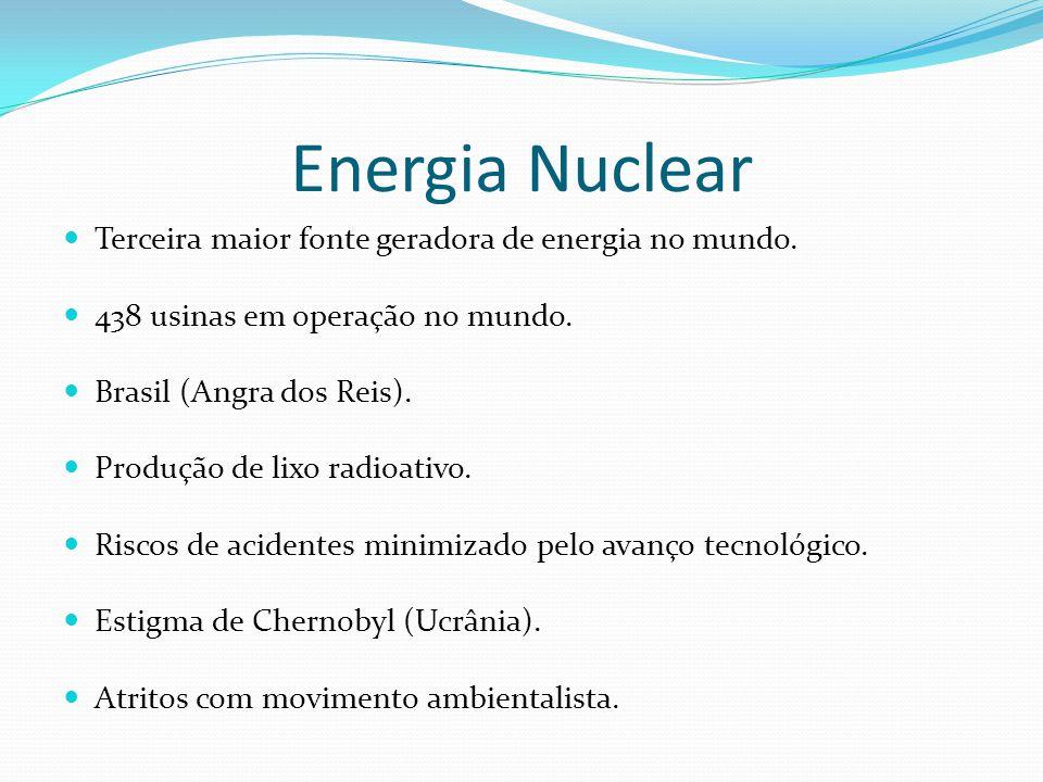 Energia Nuclear Terceira maior fonte geradora de energia no mundo. 438 usinas em operação no mundo. Brasil (Angra dos Reis). Produção de lixo radioati