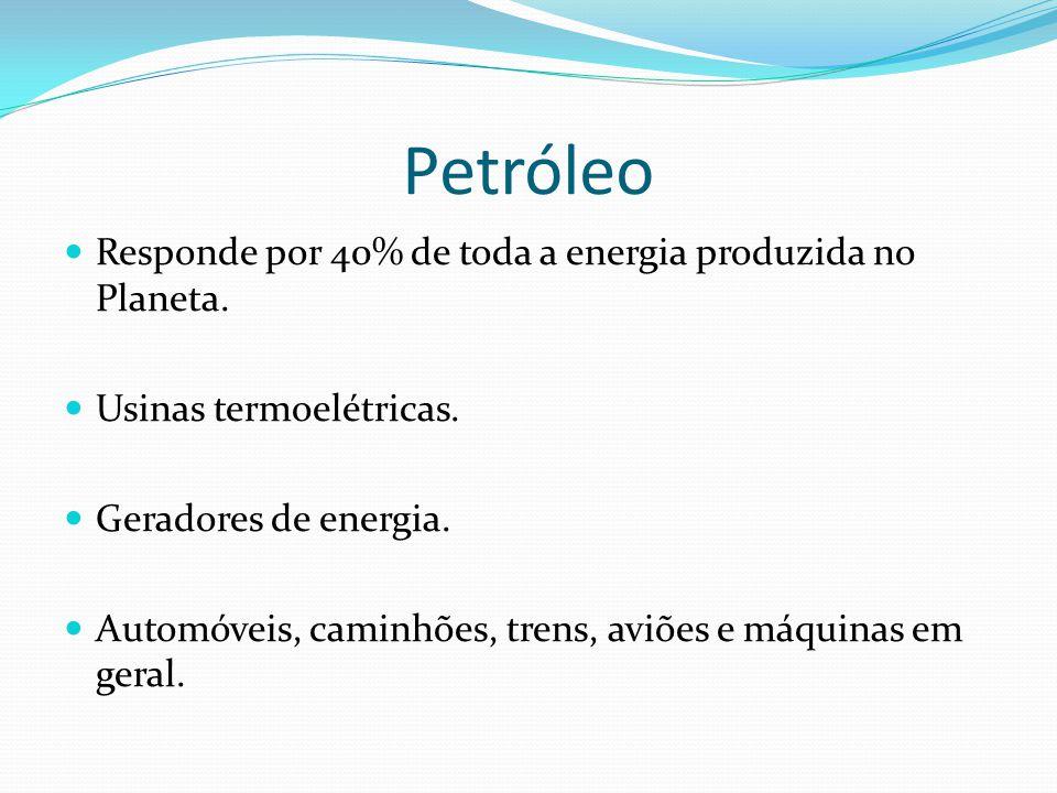 Petróleo Responde por 40% de toda a energia produzida no Planeta. Usinas termoelétricas. Geradores de energia. Automóveis, caminhões, trens, aviões e