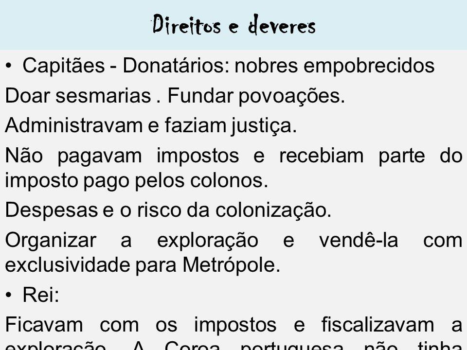 Direitos e deveres Capitães - Donatários: nobres empobrecidos Doar sesmarias.