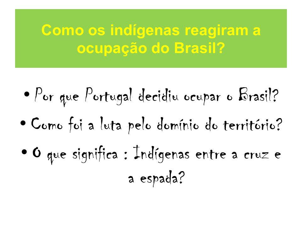 Como os indígenas reagiram a ocupação do Brasil.Por que Portugal decidiu ocupar o Brasil.