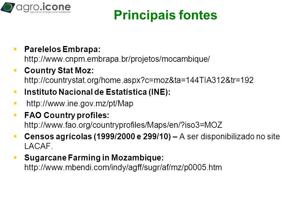 T Principais fontes  Parelelos Embrapa: http://www.cnpm.embrapa.br/projetos/mocambique/  Country Stat Moz: http://countrystat.org/home.aspx?c=moz&ta