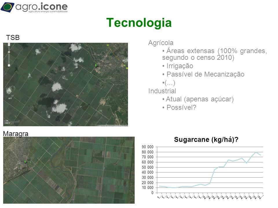 T Tecnologia TSB Agrícola Áreas extensas (100% grandes, segundo o censo 2010) Irrigação Passível de Mecanização (...) Industrial Atual (apenas açúcar)