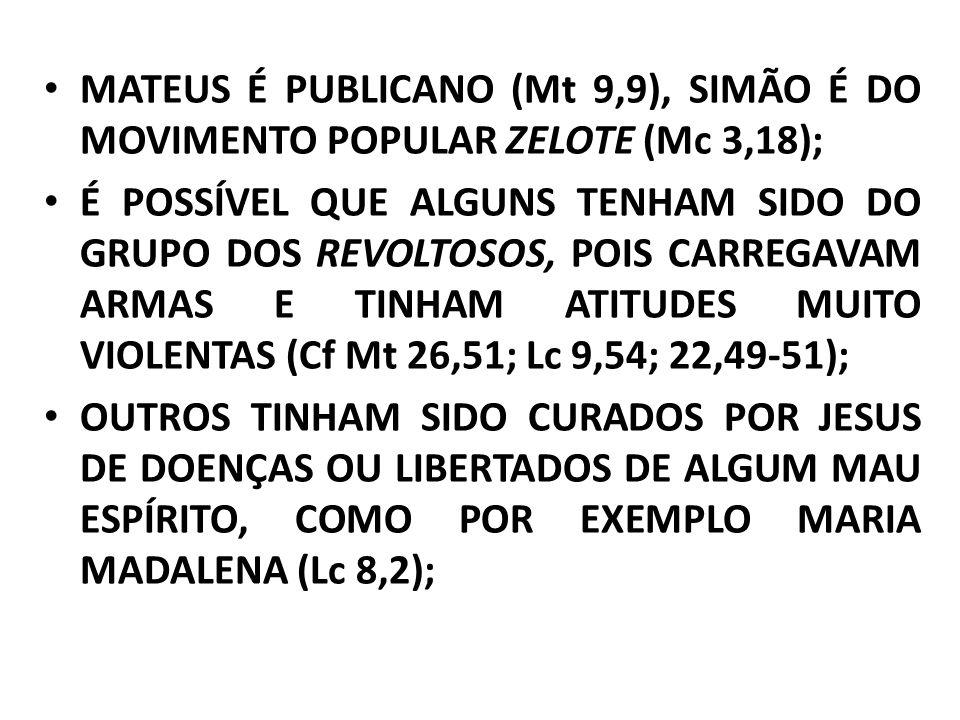 MATEUS É PUBLICANO (Mt 9,9), SIMÃO É DO MOVIMENTO POPULAR ZELOTE (Mc 3,18); É POSSÍVEL QUE ALGUNS TENHAM SIDO DO GRUPO DOS REVOLTOSOS, POIS CARREGAVAM ARMAS E TINHAM ATITUDES MUITO VIOLENTAS (Cf Mt 26,51; Lc 9,54; 22,49-51); OUTROS TINHAM SIDO CURADOS POR JESUS DE DOENÇAS OU LIBERTADOS DE ALGUM MAU ESPÍRITO, COMO POR EXEMPLO MARIA MADALENA (Lc 8,2);