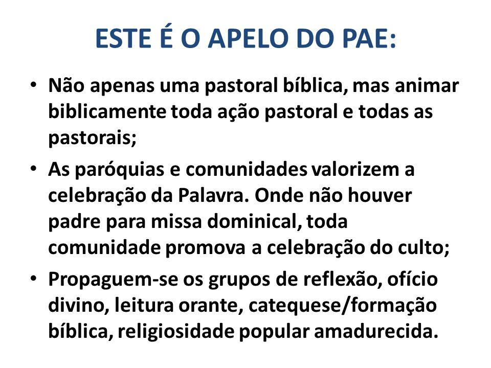 ESTE É O APELO DO PAE: Não apenas uma pastoral bíblica, mas animar biblicamente toda ação pastoral e todas as pastorais; As paróquias e comunidades valorizem a celebração da Palavra.
