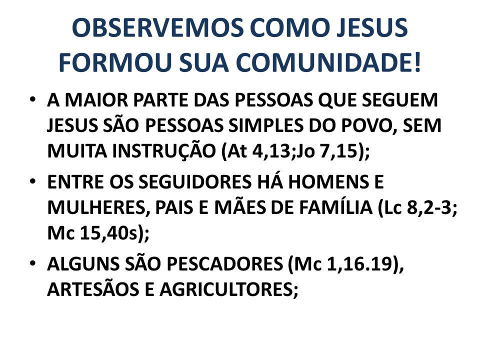 OBSERVEMOS COMO JESUS FORMOU SUA COMUNIDADE.