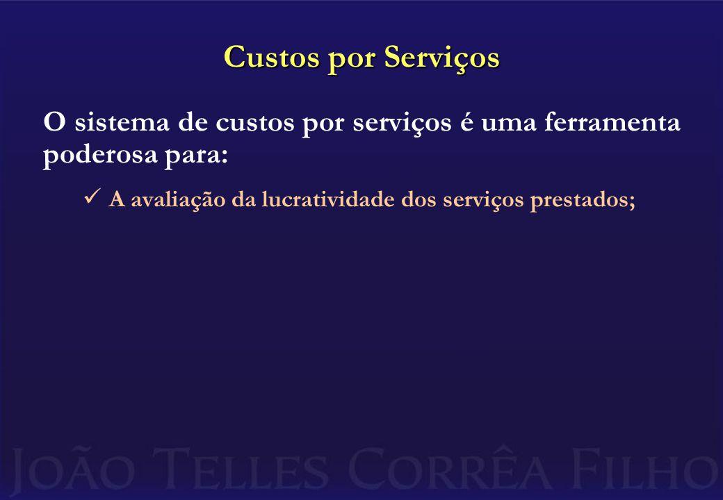Custos por Serviços O sistema de custos por serviços é uma ferramenta poderosa para: A avaliação da lucratividade dos serviços prestados;