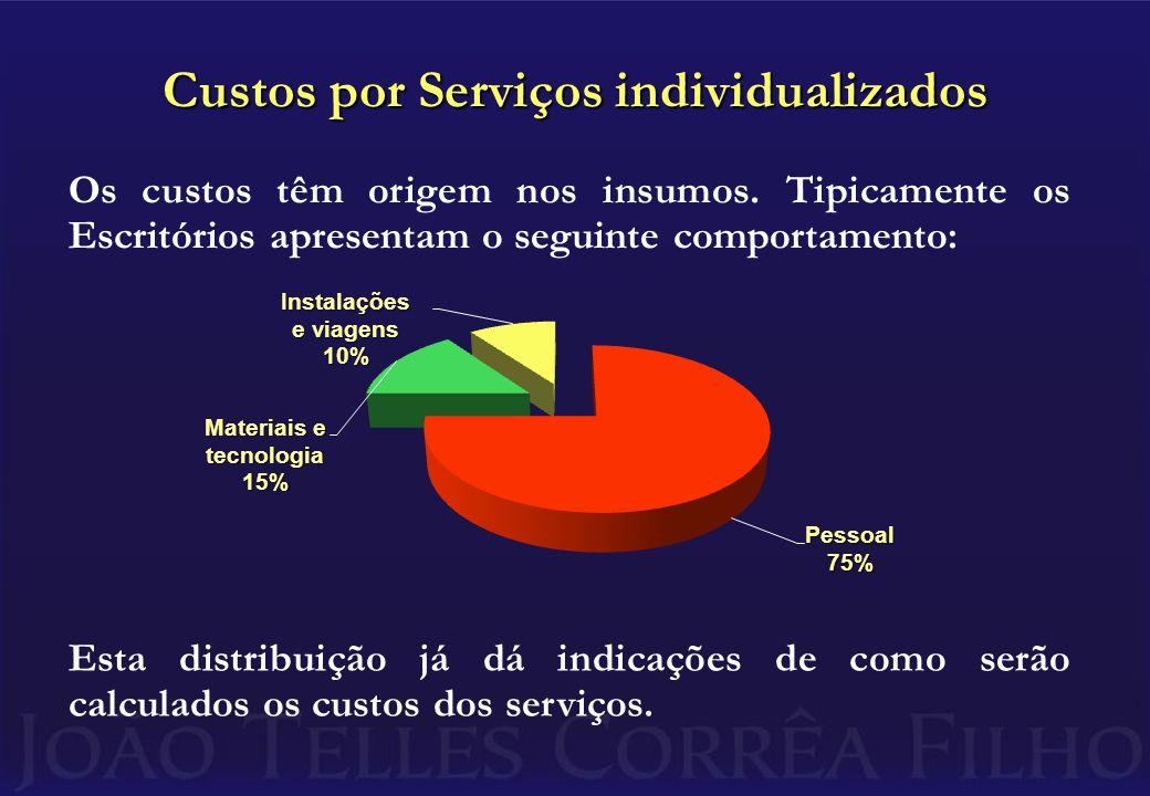 Custos por Serviços individualizados Os custos têm origem nos insumos.