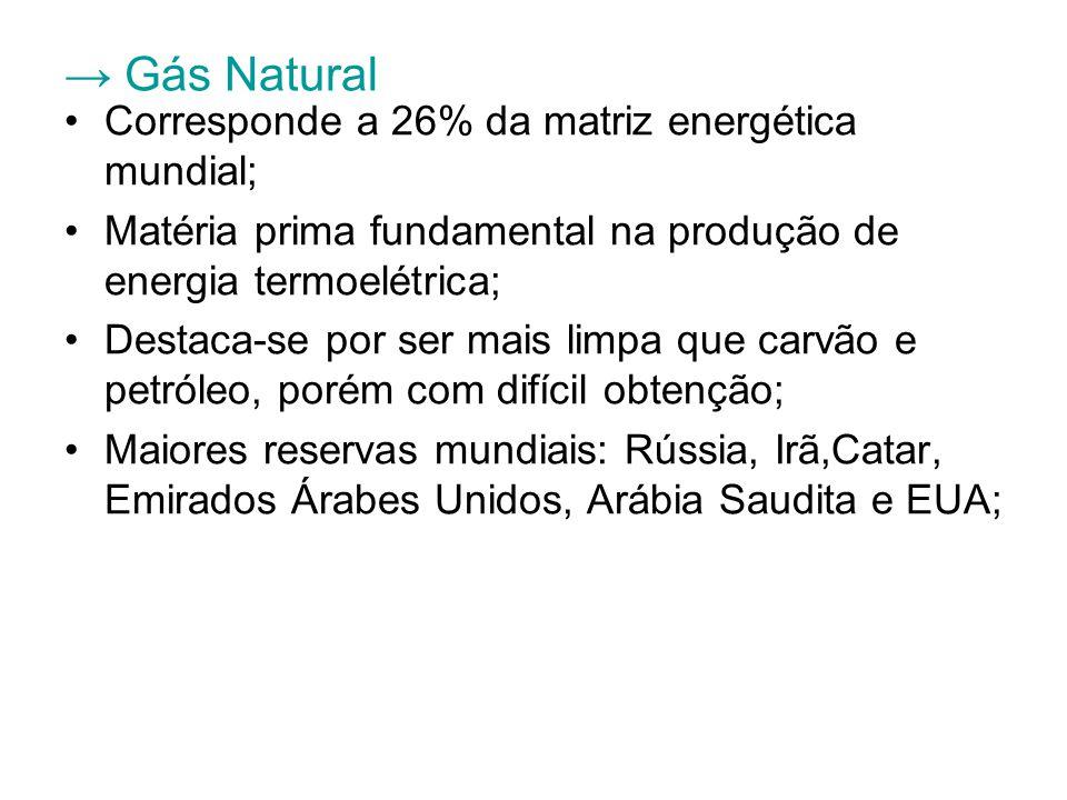 → Gás Natural Corresponde a 26% da matriz energética mundial; Matéria prima fundamental na produção de energia termoelétrica; Destaca-se por ser mais