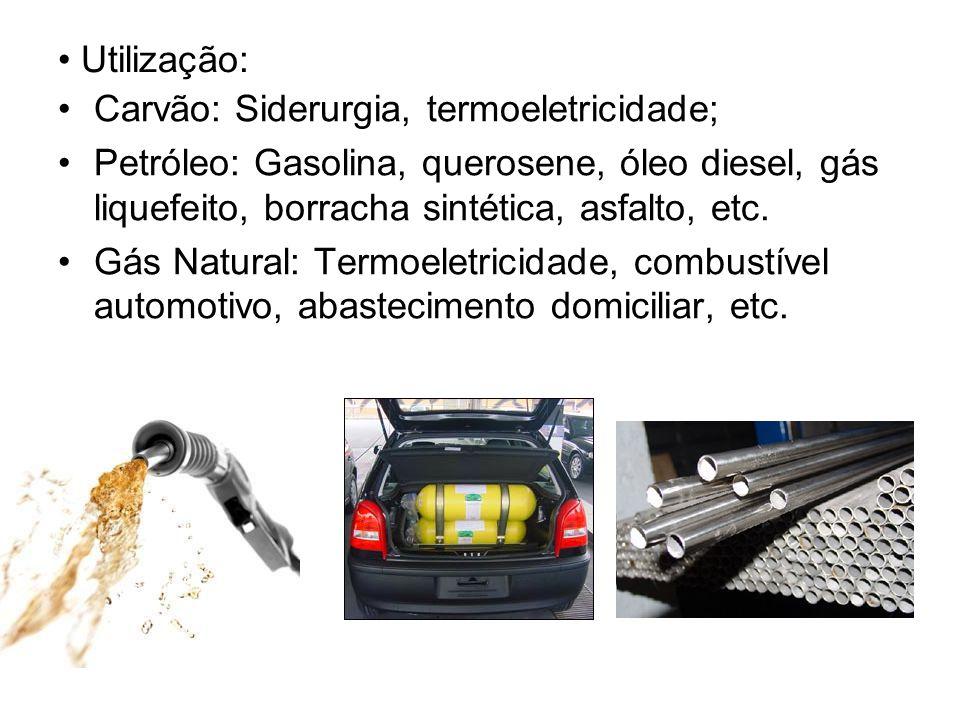 Utilização: Carvão: Siderurgia, termoeletricidade; Petróleo: Gasolina, querosene, óleo diesel, gás liquefeito, borracha sintética, asfalto, etc. Gás N