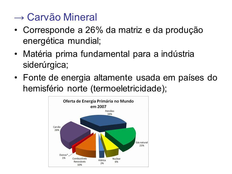 → Carvão Mineral Corresponde a 26% da matriz e da produção energética mundial; Matéria prima fundamental para a indústria siderúrgica; Fonte de energi