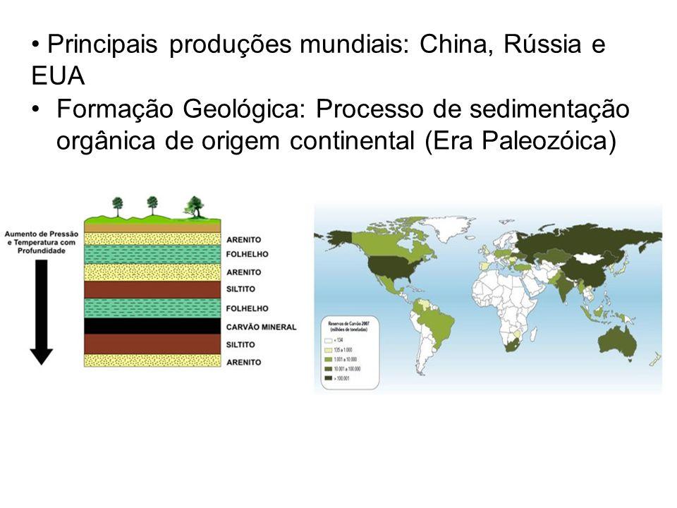 Principais produções mundiais: China, Rússia e EUA Formação Geológica: Processo de sedimentação orgânica de origem continental (Era Paleozóica)