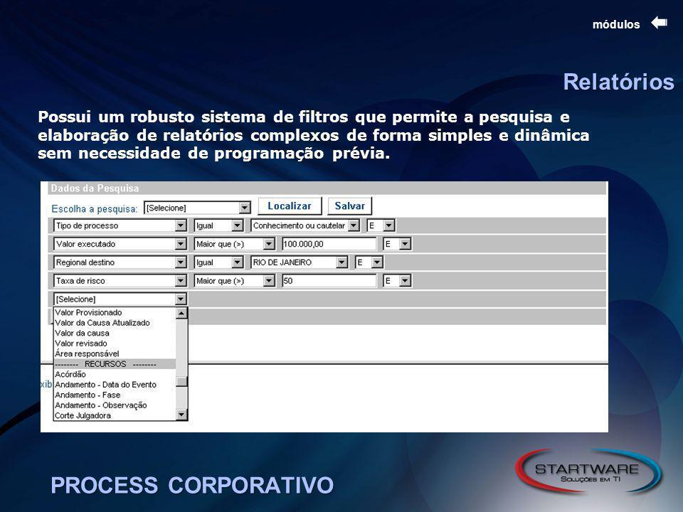 PROCESS CORPORATIVO módulos Relatórios Possui um robusto sistema de filtros que permite a pesquisa e elaboração de relatórios complexos de forma simples e dinâmica sem necessidade de programação prévia.