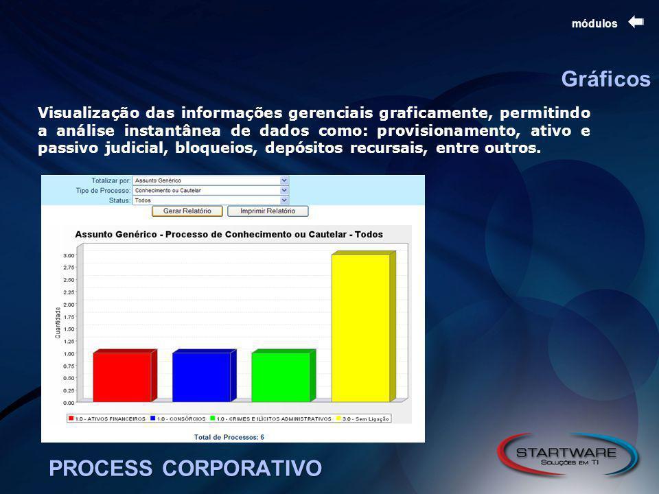 PROCESS CORPORATIVO módulos Gráficos Visualização das informações gerenciais graficamente, permitindo a análise instantânea de dados como: provisionamento, ativo e passivo judicial, bloqueios, depósitos recursais, entre outros.