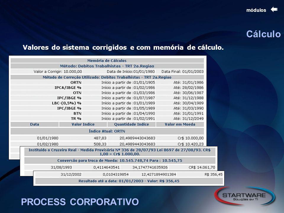 PROCESS CORPORATIVO módulos Cálculo Valores do sistema corrigidos e com memória de cálculo.