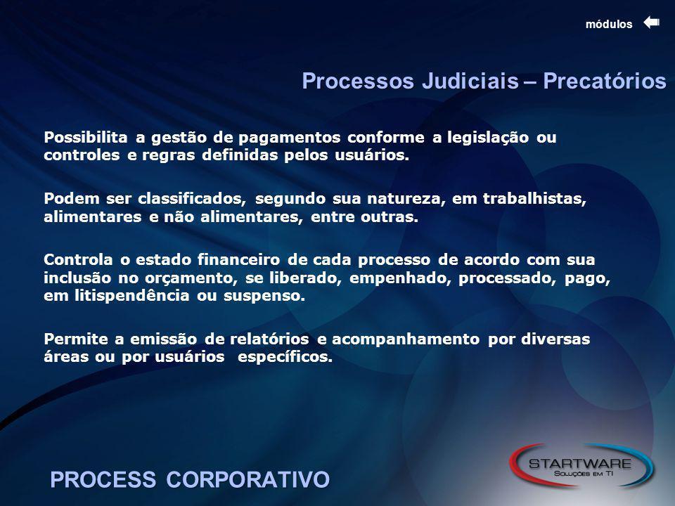 Processos Judiciais – Precatórios PROCESS CORPORATIVO módulos Possibilita a gestão de pagamentos conforme a legislação ou controles e regras definidas pelos usuários.