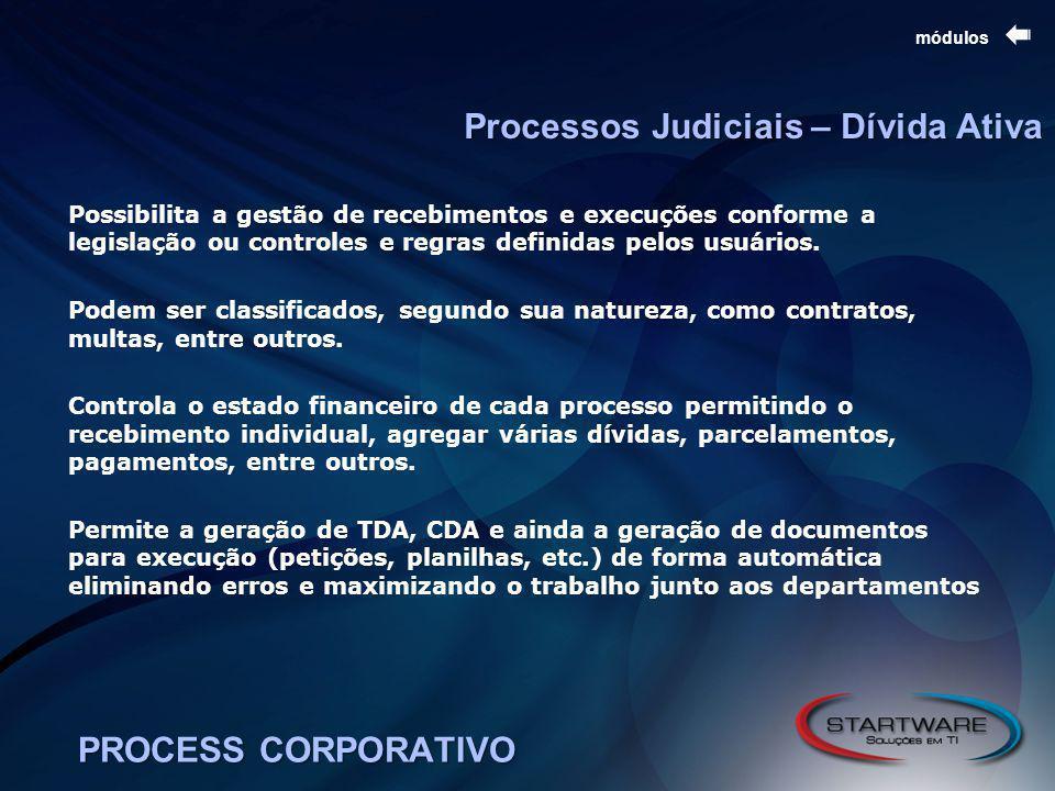 PROCESS CORPORATIVO módulos Possibilita a gestão de recebimentos e execuções conforme a legislação ou controles e regras definidas pelos usuários.