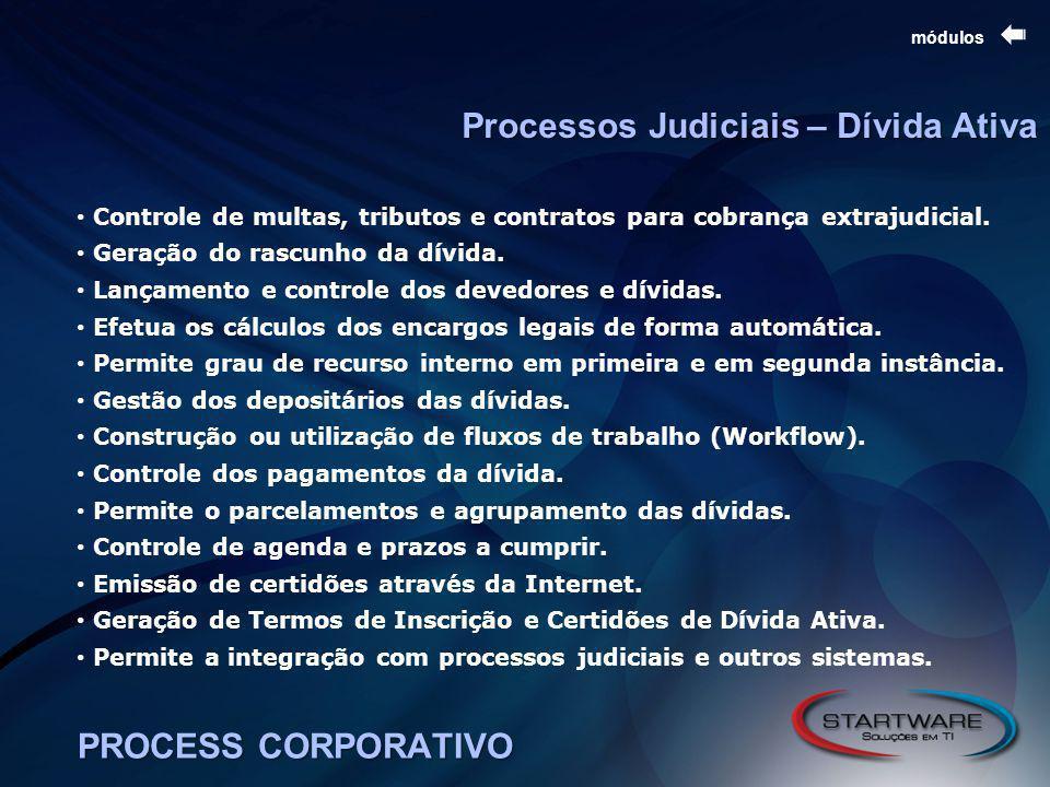 PROCESS CORPORATIVO módulos Controle de multas, tributos e contratos para cobrança extrajudicial.