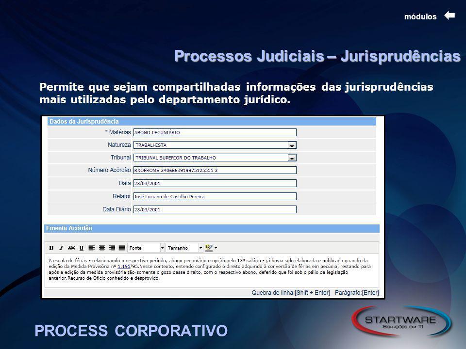 PROCESS CORPORATIVO módulos Processos Judiciais – Jurisprudências Permite que sejam compartilhadas informações das jurisprudências mais utilizadas pelo departamento jurídico.