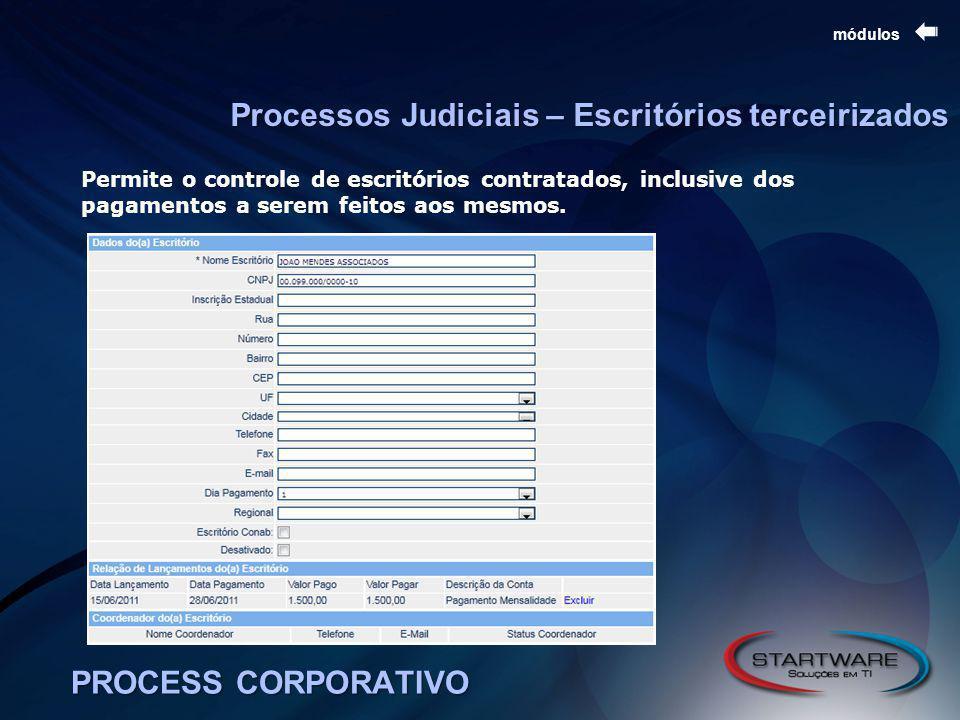 PROCESS CORPORATIVO módulos Processos Judiciais – Escritórios terceirizados Permite o controle de escritórios contratados, inclusive dos pagamentos a serem feitos aos mesmos.