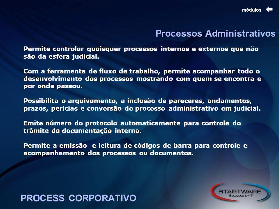 PROCESS CORPORATIVO módulos Processos Administrativos Permite controlar quaisquer processos internos e externos que não são da esfera judicial.