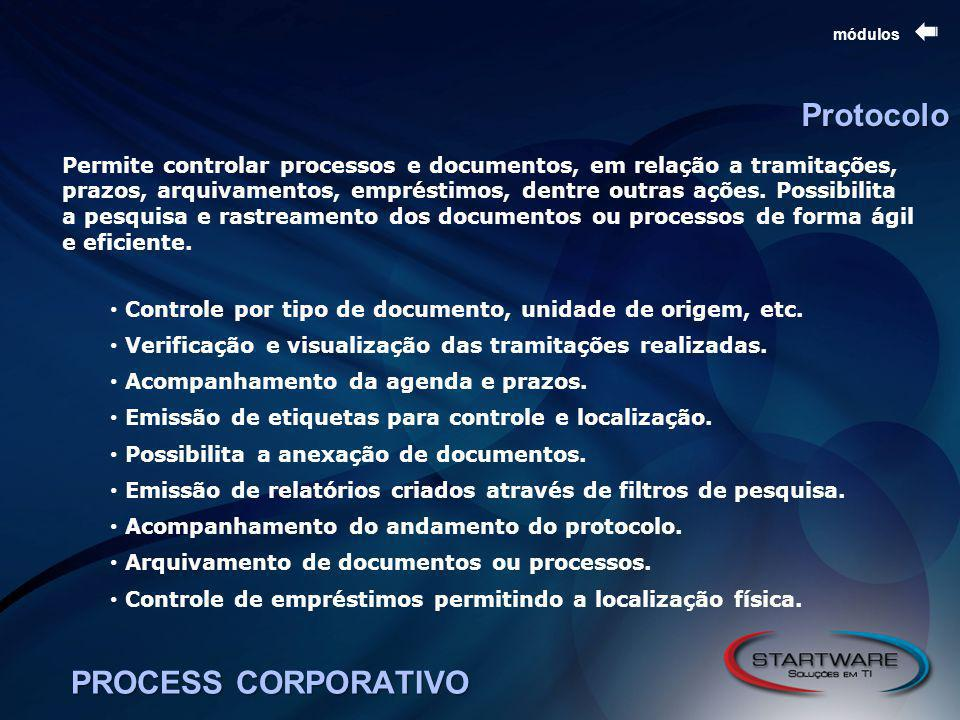 PROCESS CORPORATIVO módulos Protocolo Permite controlar processos e documentos, em relação a tramitações, prazos, arquivamentos, empréstimos, dentre outras ações.