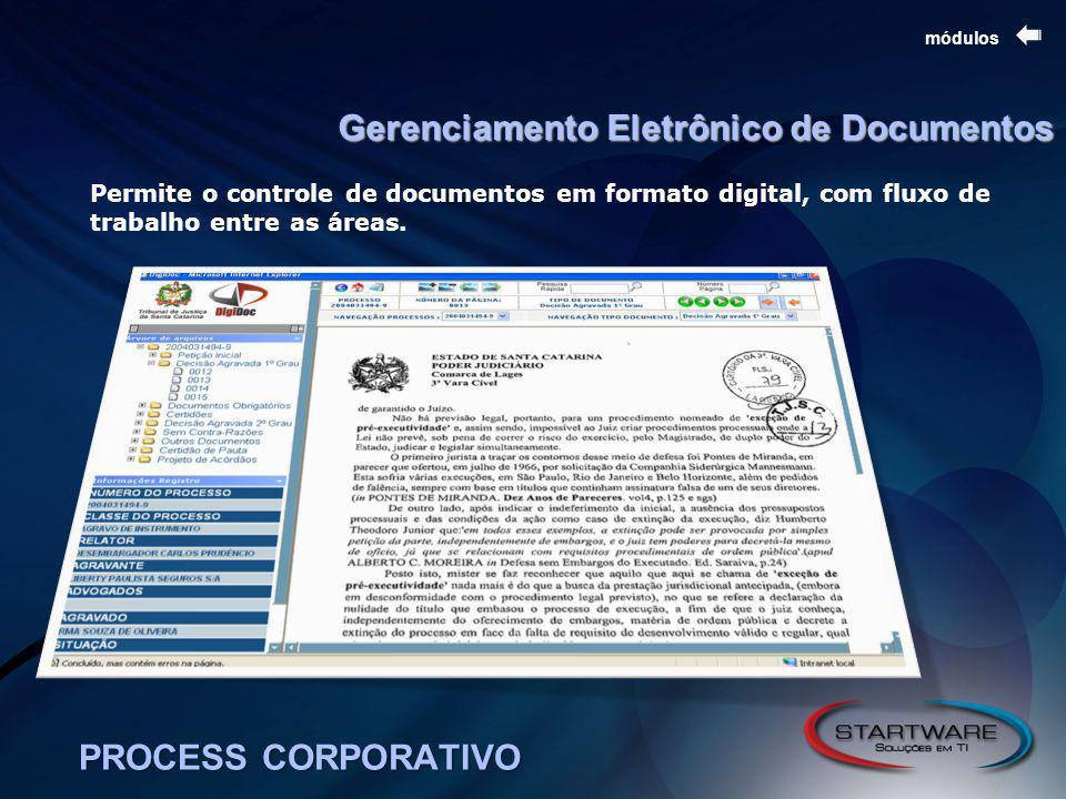 PROCESS CORPORATIVO módulos Gerenciamento Eletrônico de Documentos Permite o controle de documentos em formato digital, com fluxo de trabalho entre as áreas.