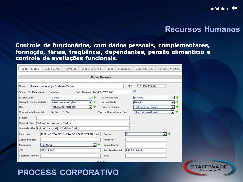 PROCESS CORPORATIVO módulos Recursos Humanos Controle de funcionários, com dados pessoais, complementares, formação, férias, freqüência, dependentes, pensão alimentícia e controle de avaliações funcionais.