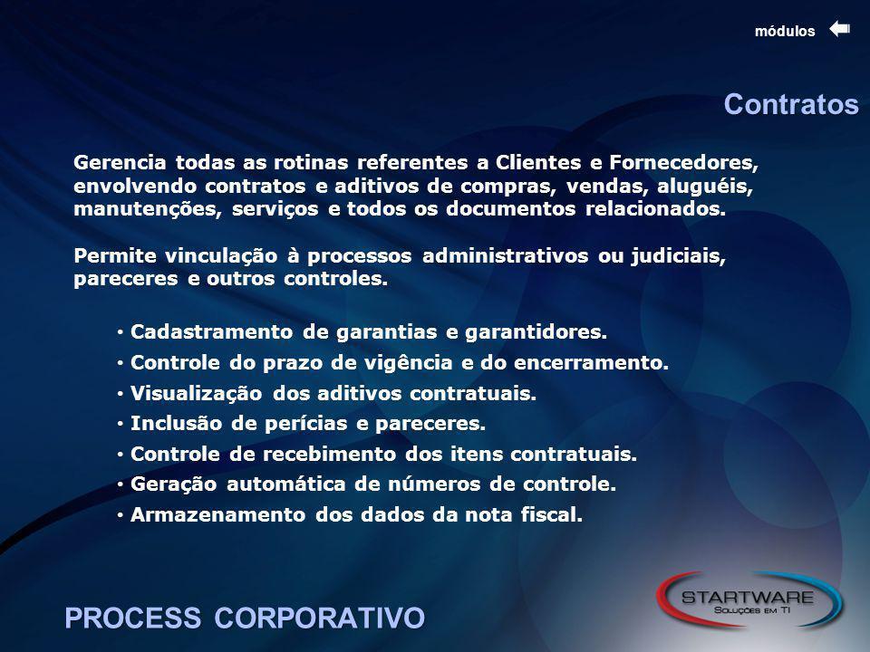 PROCESS CORPORATIVO módulos Contratos Gerencia todas as rotinas referentes a Clientes e Fornecedores, envolvendo contratos e aditivos de compras, vendas, aluguéis, manutenções, serviços e todos os documentos relacionados.