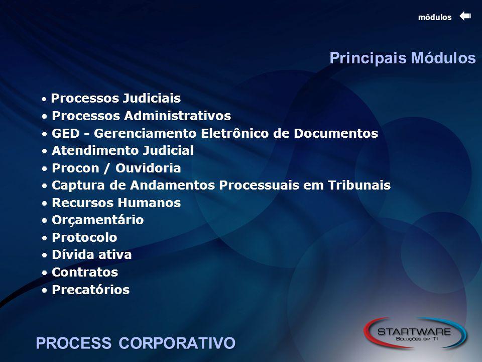 PROCESS CORPORATIVO módulos Processos Judiciais Processos Administrativos GED - Gerenciamento Eletrônico de Documentos Atendimento Judicial Procon / Ouvidoria Captura de Andamentos Processuais em Tribunais Recursos Humanos Orçamentário Protocolo Dívida ativa Contratos Precatórios Principais Módulos