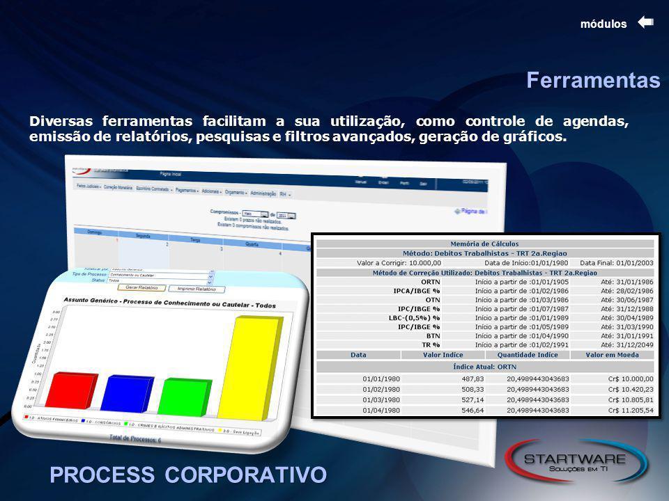 PROCESS CORPORATIVO módulos Diversas ferramentas facilitam a sua utilização, como controle de agendas, emissão de relatórios, pesquisas e filtros avançados, geração de gráficos.