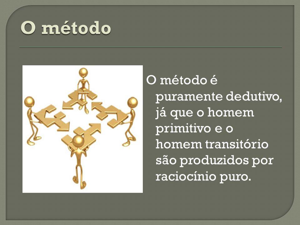 O método é puramente dedutivo, já que o homem primitivo e o homem transitório são produzidos por raciocínio puro.