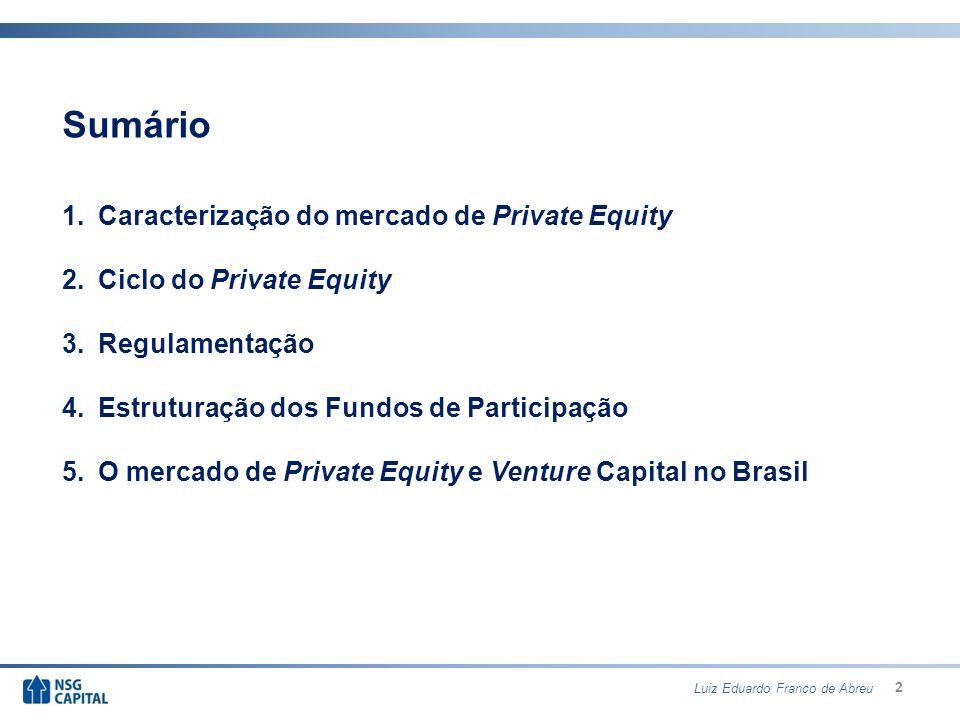 3 Sumário 1.Caracterização do mercado de Private Equity 2.Ciclo do Private Equity 3.Regulamentação 4.Estruturação dos Fundos de Participação 5.O mercado de Private Equity e Venture Capital no Brasil Luiz Eduardo Franco de Abreu