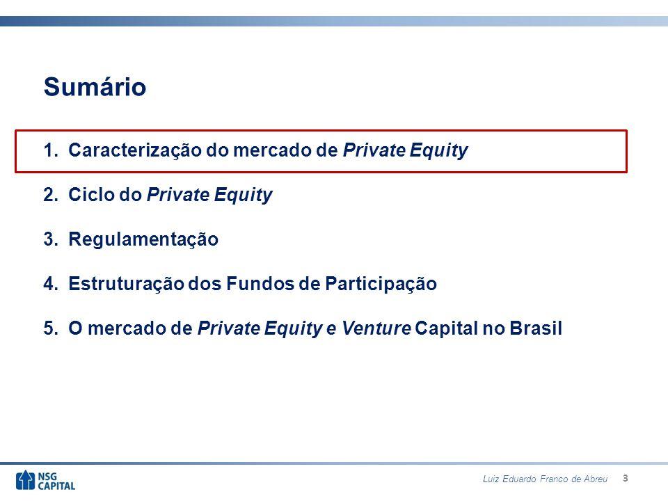 4 Caracterização do mercado de Private Equity Private Equity: Investimentos em participações acionárias em S/A de capital fechado ou aberto.