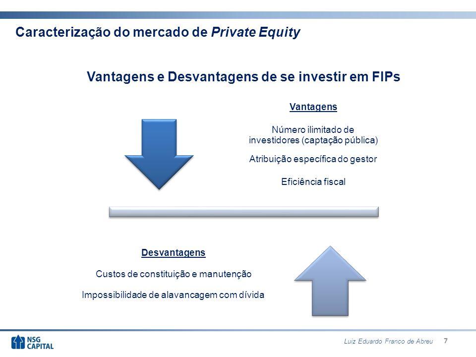 18 Sumário 1.Caracterização do mercado de Private Equity 2.Ciclo do Private Equity 3.Estratégias 4.Regulamentação 5.Estruturação dos Fundos de Participação 6.O mercado de Private Equity e Venture Capital no Brasil Luiz Eduardo Franco de Abreu