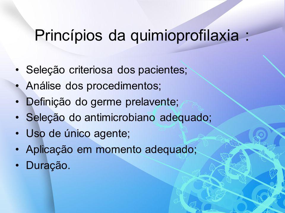 Princípios da quimioprofilaxia : Seleção criteriosa dos pacientes; Análise dos procedimentos; Definição do germe prelavente; Seleção do antimicrobiano