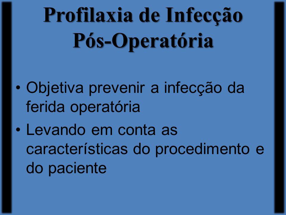 Profilaxia de Infecção Pós-Operatória Objetiva prevenir a infecção da ferida operatória Levando em conta as características do procedimento e do pacie