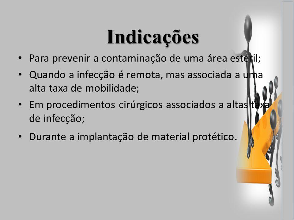 Indicações Para prevenir a contaminação de uma área estéril; Quando a infecção é remota, mas associada a uma alta taxa de mobilidade; Em procedimentos