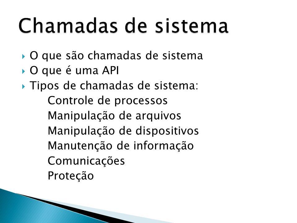  O que são chamadas de sistema  O que é uma API  Tipos de chamadas de sistema: Controle de processos Manipulação de arquivos Manipulação de dispositivos Manutenção de informação Comunicações Proteção