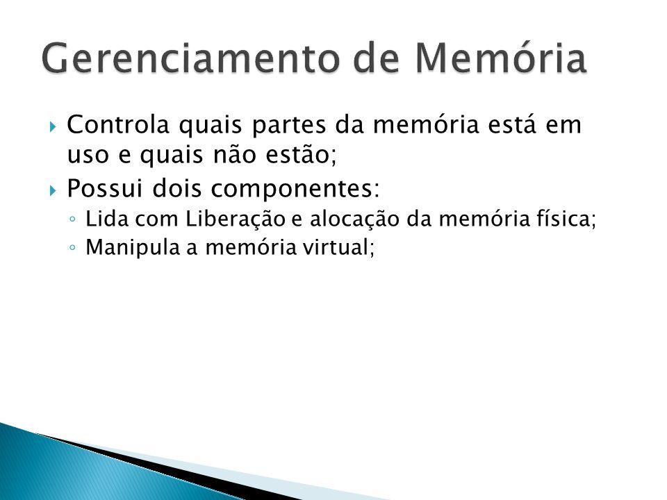  Controla quais partes da memória está em uso e quais não estão;  Possui dois componentes: ◦ Lida com Liberação e alocação da memória física; ◦ Manipula a memória virtual;