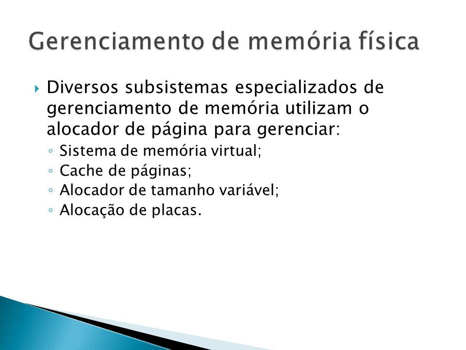  Diversos subsistemas especializados de gerenciamento de memória utilizam o alocador de página para gerenciar: ◦ Sistema de memória virtual; ◦ Cache de páginas; ◦ Alocador de tamanho variável; ◦ Alocação de placas.