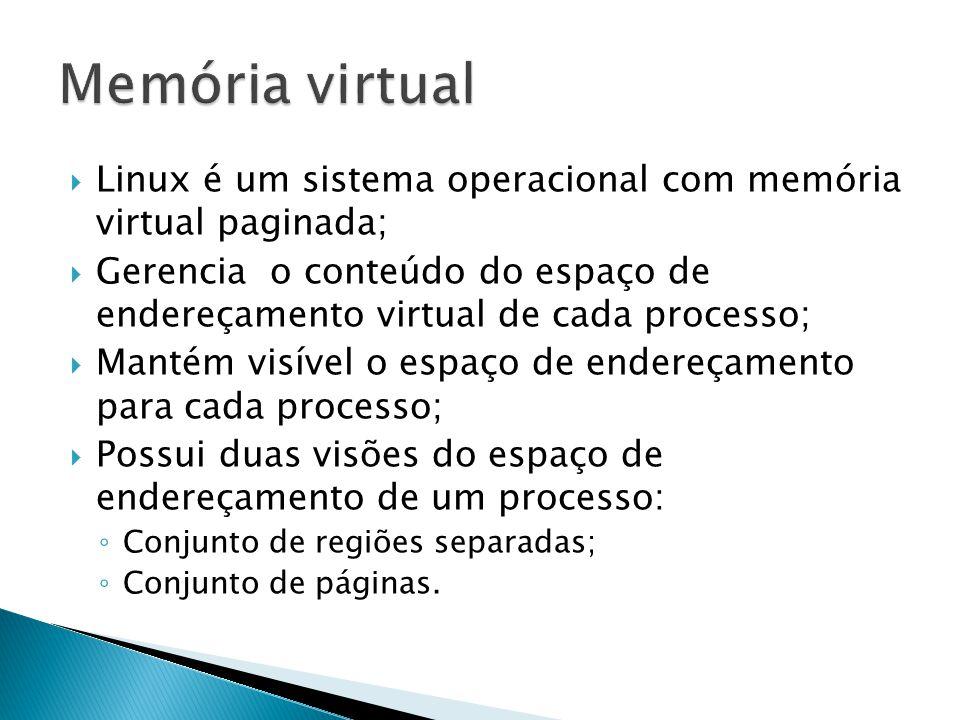  Linux é um sistema operacional com memória virtual paginada;  Gerencia o conteúdo do espaço de endereçamento virtual de cada processo;  Mantém visível o espaço de endereçamento para cada processo;  Possui duas visões do espaço de endereçamento de um processo: ◦ Conjunto de regiões separadas; ◦ Conjunto de páginas.