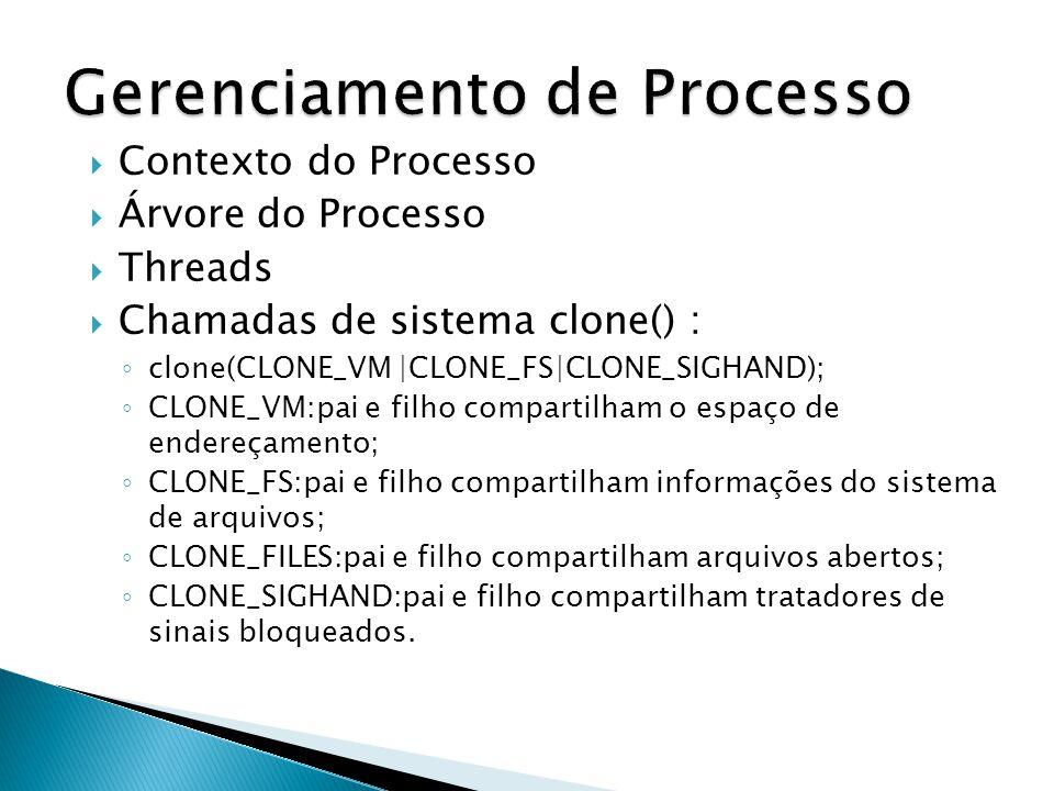  Contexto do Processo  Árvore do Processo  Threads  Chamadas de sistema clone() : ◦ clone(CLONE_VM |CLONE_FS|CLONE_SIGHAND); ◦ CLONE_VM:pai e filho compartilham o espaço de endereçamento; ◦ CLONE_FS:pai e filho compartilham informações do sistema de arquivos; ◦ CLONE_FILES:pai e filho compartilham arquivos abertos; ◦ CLONE_SIGHAND:pai e filho compartilham tratadores de sinais bloqueados.