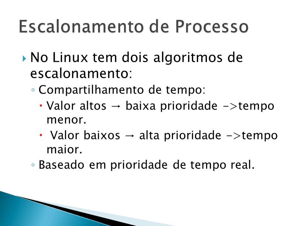  No Linux tem dois algoritmos de escalonamento: ◦ Compartilhamento de tempo:  Valor altos → baixa prioridade ->tempo menor.