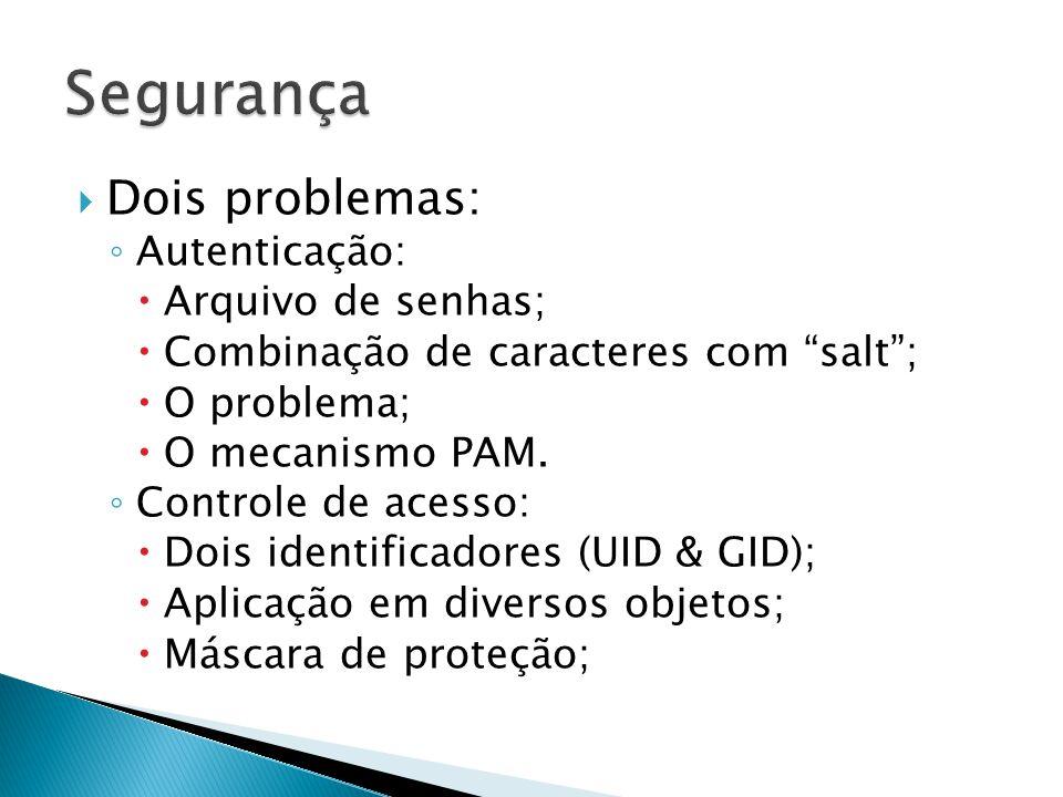  Dois problemas: ◦ Autenticação:  Arquivo de senhas;  Combinação de caracteres com salt ;  O problema;  O mecanismo PAM.