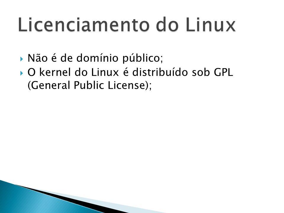  Não é de domínio público;  O kernel do Linux é distribuído sob GPL (General Public License);