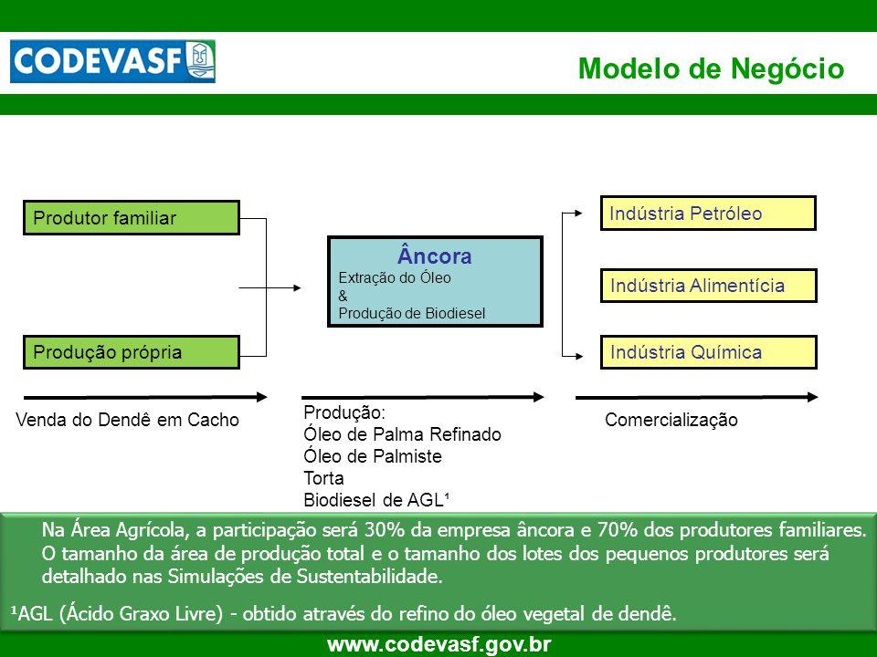 10 www.codevasf.gov.br Produtor familiar Produção própria Âncora Extração do Óleo & Produção de Biodiesel Indústria Alimentícia Indústria Química Vend